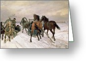 Sleigh Ride Greeting Cards - Meeting Greeting Card by Pawel Kowalewsky