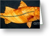 Carving Sculpture Greeting Cards - Mega Snook Fish Greeting Card by Douglas Snider