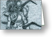 Metamorphosis Drawings Greeting Cards - Megan changing Greeting Card by Kathryn Wilson