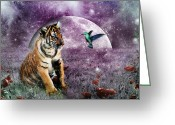 Tiger Cub Greeting Cards - Megan Molly and the Moon Greeting Card by Julie L Hoddinott