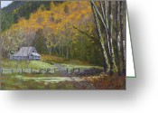 Old Barn Pastels Greeting Cards - Megs Farm Greeting Card by James Geddes