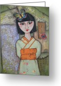 Ephemera Collage Greeting Cards - Meiko Greeting Card by Kathy Cameron