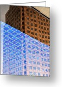 Abstract Building Greeting Cards - Melancholy in Blue and Brown Greeting Card by Dean Harte
