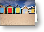 Melbourne Beach Greeting Cards - Melbourne Beach Huts In Australia Greeting Card by Timphillipsphotos