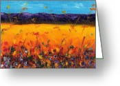 Mountain Ranges Greeting Cards - Melissas Meadow Greeting Card by Frances Marino