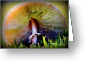 Fungus Greeting Cards - Mellow Yellow Mushroom Greeting Card by Karen Wiles