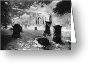 Silver Gelatin Greeting Cards - Melrose Abbey Greeting Card by Simon Marsden