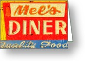 Welcome Signs Greeting Cards - Mels Diner Greeting Card by Wingsdomain Art and Photography