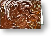 Confections Greeting Cards - Melted Chocolate Abstract Greeting Card by Andee Photography