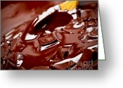 Warm Greeting Cards - Melting chocolate and spoon Greeting Card by Elena Elisseeva