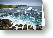 Cave Greeting Cards - Melting iceberg in Newfoundland Greeting Card by Elena Elisseeva