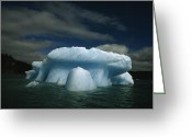 Environmental Damage Greeting Cards - Melting Iceberg Under A Cloud Filled Greeting Card by Paul Chesley