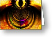 Mandelbrot Set Greeting Cards - Melting Pot . Gold . Horizontal Cut . S8a.S11 Greeting Card by Wingsdomain Art and Photography