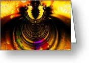 Mandelbrot Set Greeting Cards - Melting Pot . Gold . Square . S8a.S11 Greeting Card by Wingsdomain Art and Photography
