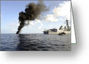 Piracy Greeting Cards - Members Of The U.s. Coast Guard Law Greeting Card by Stocktrek Images