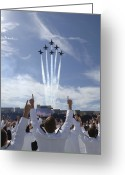 Plane Photo Greeting Cards - Members Of The U.s. Naval Academy Cheer Greeting Card by Stocktrek Images