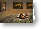 Photomanipulation Digital Art Greeting Cards - Mementos Exhibition Greeting Card by Veikko Suikkanen