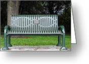 Jogging Greeting Cards - Memorial Bench  Greeting Card by Christopher  Mercer
