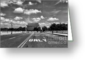 Arlington Memorial Bridge Greeting Cards - Memorial Bridge and Lincoln Memorial Greeting Card by Jim Moore