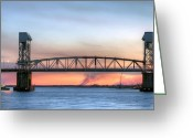 Wilmington Greeting Cards - Memorial Bridge Greeting Card by JC Findley
