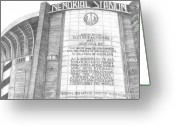 Juliana Dube Drawings Greeting Cards - Memorial Stadium Greeting Card by Juliana Dube