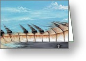 Surrealistic Painting Greeting Cards - Memories Greeting Card by David Junod