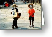 Street Scene Greeting Cards - Memories of a Better Time The Children of New Orleans Greeting Card by Christine Till - CT-Graphics