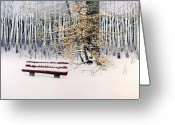 Egg Tempera Painting Greeting Cards - Memories of Birchtrees Greeting Card by Conrad Mieschke