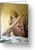 Deep In Thought Painting Greeting Cards - Memory Greeting Card by Rebecca Torrington
