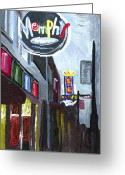 Night Greeting Cards - Memphis Greeting Card by Helena M Langley