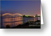 Purple Sky Greeting Cards - Memphis Greeting Card by Miguel Celis