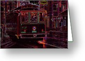 Tenn Greeting Cards - Memphis Neon Streetcar in Rain Greeting Card by Don Wolf