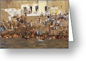 Bathe Greeting Cards - Men And Boys Bathe At An Ancient Ghat Greeting Card by Jason Edwards