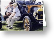 Photo-realism Painting Greeting Cards - Men and their Toys Greeting Card by Denny Bond