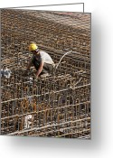 Foundations Greeting Cards - Men at work Greeting Card by Andrew  Michael