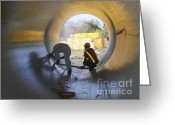 Hydroelectric Greeting Cards - Men at Work Greeting Card by Heiko Koehrer-Wagner