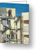 Light And Dark  Greeting Cards - Men At Work Greeting Card by Theo Michael