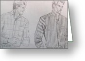 Residential Drawings Greeting Cards - Men in Fashion 1 Greeting Card by Sarah Parks