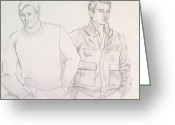 Residential Drawings Greeting Cards - Men in Fashion 2 Greeting Card by Sarah Parks