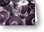Headgear Greeting Cards - Men In Sombreros Surround A Woman Greeting Card by B. Anthony Stewart