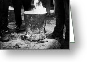 Occupy Photo Greeting Cards - Men Standing Around Brazier Burning Wood And Coal On A Cold Night In Central Belfast Greeting Card by Joe Fox
