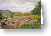 Feeding Painting Greeting Cards - Mending the Sheep Pen Greeting Card by William Henry Millais