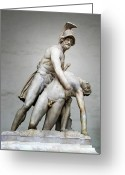 Photographs Digital Art Greeting Cards - Menelaus and Patroclus Sculpture Greeting Card by Artecco Fine Art Photography - Photograph by Nadja Drieling