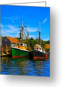 Martha Greeting Cards - Menemsha Harbor Greeting Card by Michael Petrizzo