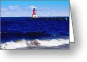 Landscape Photograpy Greeting Cards - Menominee Michigan North Pier Lighthouse  Greeting Card by Ms Judi