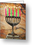 Joyful Greeting Cards - Menorah Greeting Card by Garry Gay