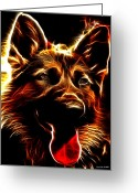 Ym_art Greeting Cards - Mens best Friend - German Shepherd portrait Greeting Card by Yvon -aka- Yanieck  Mariani