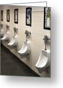 Urinal Greeting Cards - Mens Restroom Greeting Card by David Buffington