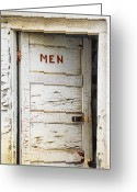 Peeling Paint Greeting Cards - Mens Room Greeting Card by Marilyn Hunt