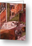 Cafe Greeting Cards - Mentre Ti Aspetto Greeting Card by Guido Borelli
